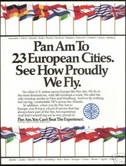 Pan Am Airlines European Flags (1985)