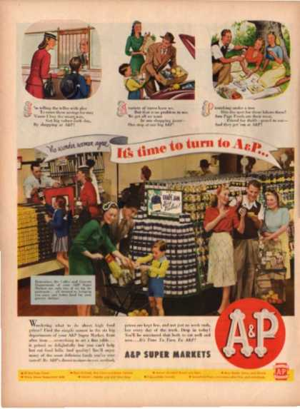 A&p Super Market Family Shopping (1945)