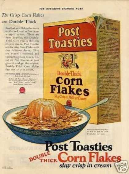 Post Toasties Corn Flakes Cereal (1925)