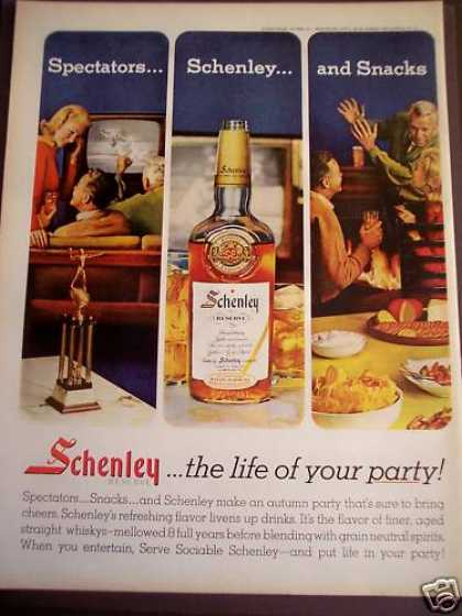 People Watching Tv & Drinking Schenley Whiskey (1963)