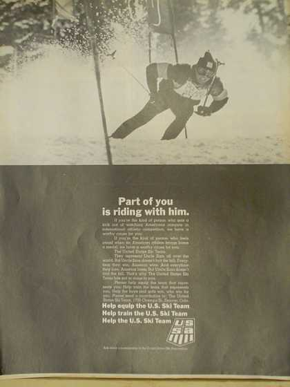 US Ski team. Part of you is riding with him. (1970)
