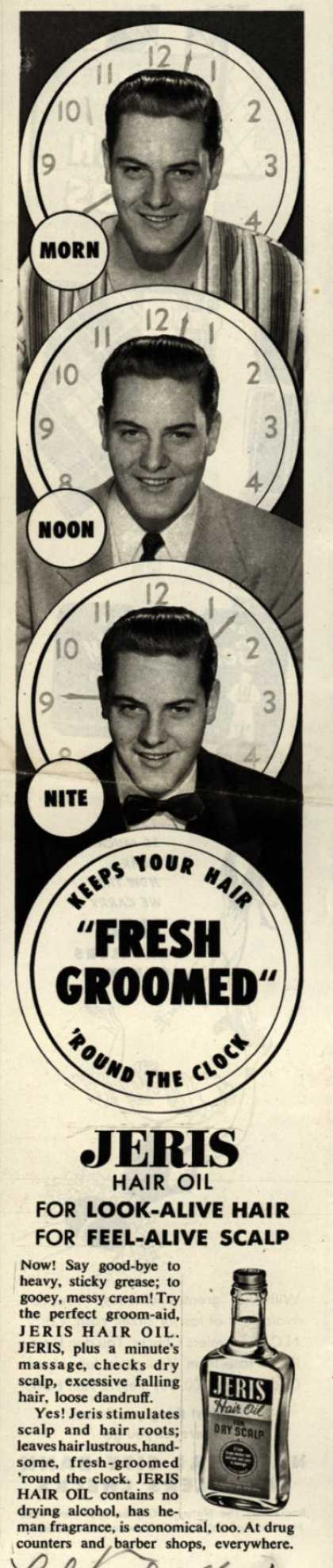 "Jeri's hair oil – Keeps Your Hair ""Fresh Groomed"" 'Round The Clock (1951)"