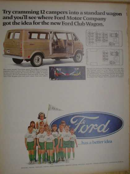 Ford Club Wagon Try cramming 12 campers into a standard wagon (1968)