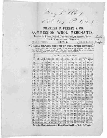 ... Table showing the cost of wool after scouring. Boston. c. 1867. (1867)