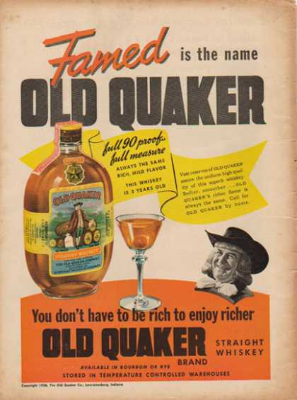 Old Quaker Straight Whiskey – Lawrenceburg, IN – Sold (1938)