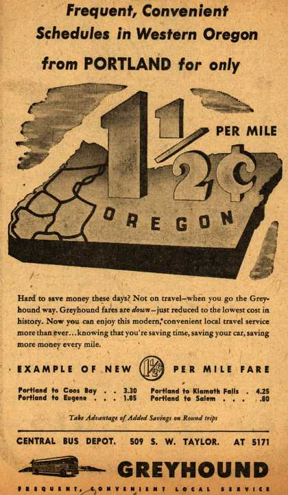 Greyhound's Oregon – Frequent, Convenient Schedules in Western Oregon from Portland for only 1 1/2 cent per mile (1946)