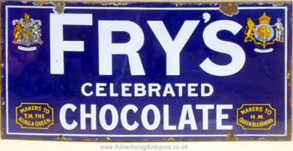 Fry's Celebrated Chocolate Enamel Sign
