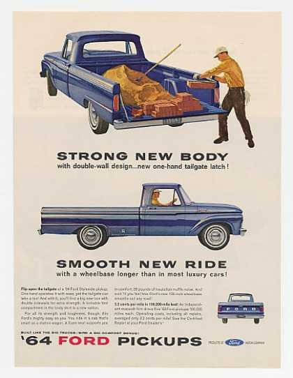 Blue Ford Styleside Pickup Truck Strong Body (1964)