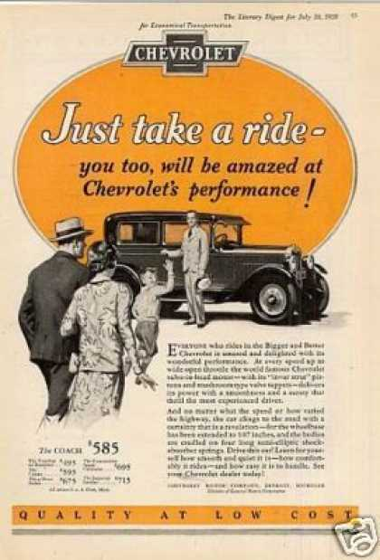 "Chevrolet Car Ad ""Just Take a Ride... (1928)"