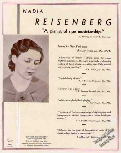 Nadia Reisenberg Photo Pianist Booking (1934)