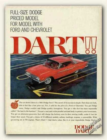 Dodge Dart Priced Model for Model W/ford Chevy (1961)