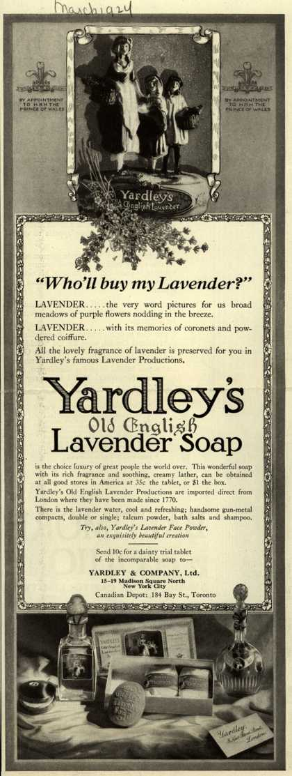 "Yardley & Co., Ltd.'s Yardley's Old English Lavender Soap – ""Who'll buy my Lavender?"" (1924)"