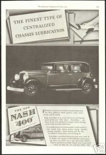 Nash 400 Chassis Lubrication Vintage Print Car (1929)