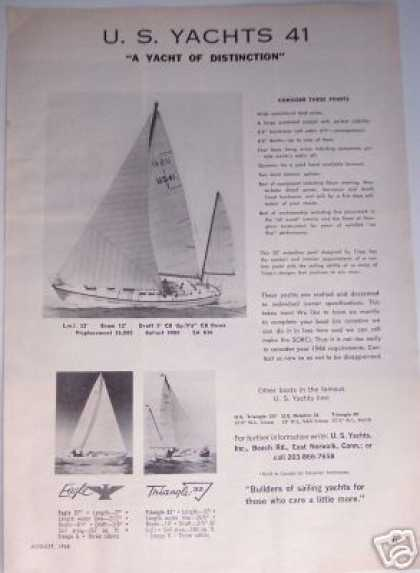 Original Sailboat Ad U. S. Yacht 41 Boat (1965)