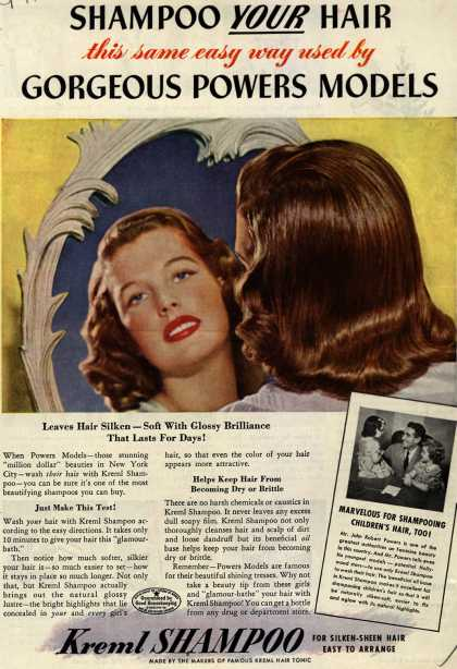 Kreml's shampoo – SHAMPOO YOUR HAIR this same easy way used by GORGEOUS POWERS MODELS (1943)