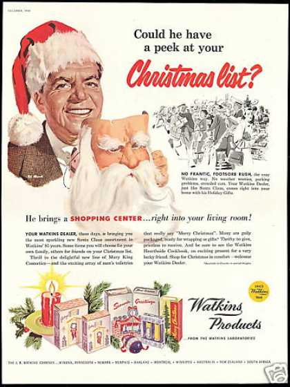 JR Watkins Products Dealer Christmas Santa (1953)