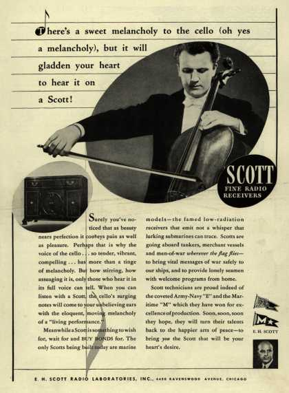 E. H. Scott Radio Laboratorie's Radio – There's a sweet melancholy to the cello (oh yes a melancholy), but it will gladden your heart to hear it on a Scott (1943)