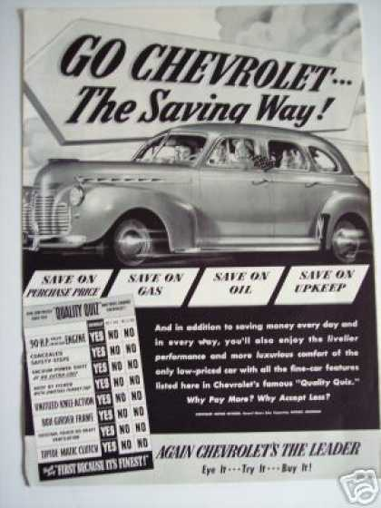 Chevrolet Chevy Sedan Original Car Photo (1941)