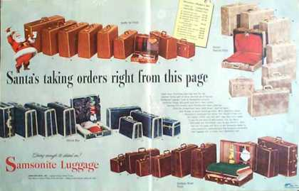 Samsonite Luggage Holiday – 2 Pages (1949)