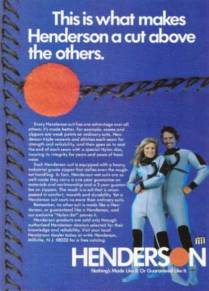 Henderson Diving Scuba Lycra Dry Suit (1981)