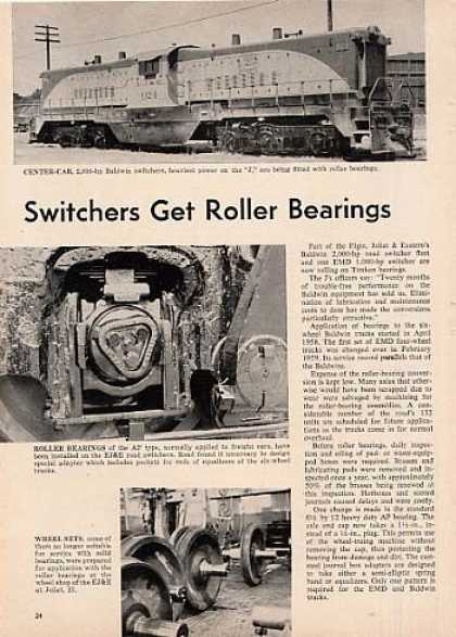 """""""Switchers Get Roller Bearings"""" Article/ej&e (1960)"""