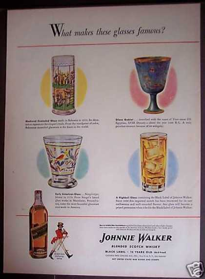 Johnnie Walker Whisky Famous Glasses (1944)
