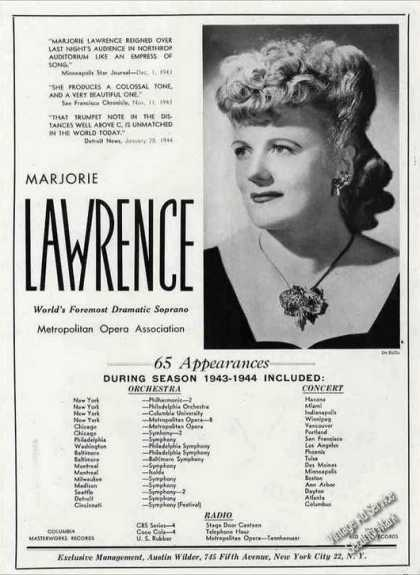 "Marjorie Lawrence ""World's Foremost Soprano"" (1944)"