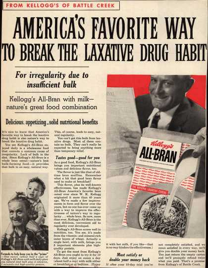 Kellogg's Co.'s Kellogg's All-Bran – America's Favorite Way to Break the Laxative Drug Habit (1958)