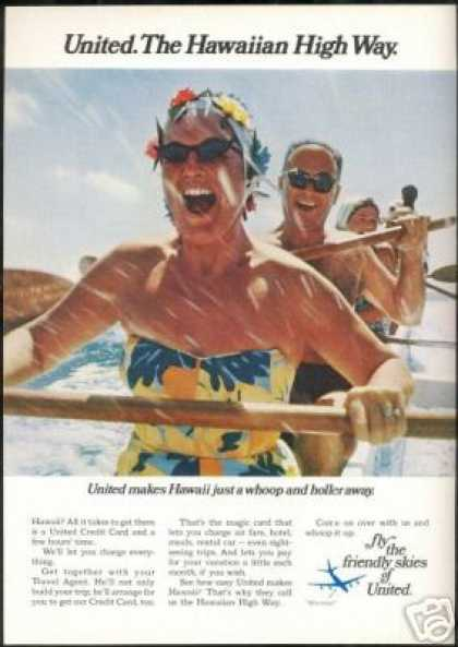 United Airlines Hawaii Water Fun Photo (1969)