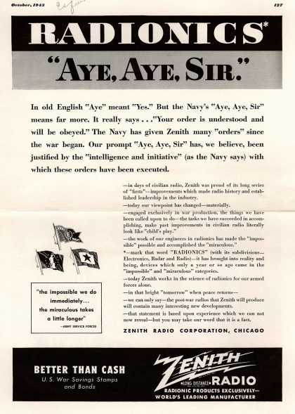 "Zenith Radio Corporation's Radio – Radionics, ""Aye Aye, Sir."" (1943)"