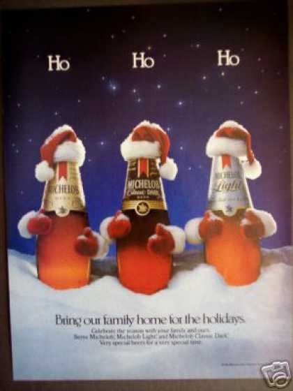 Michelob Beer Santa Bottles Holiday (1985)