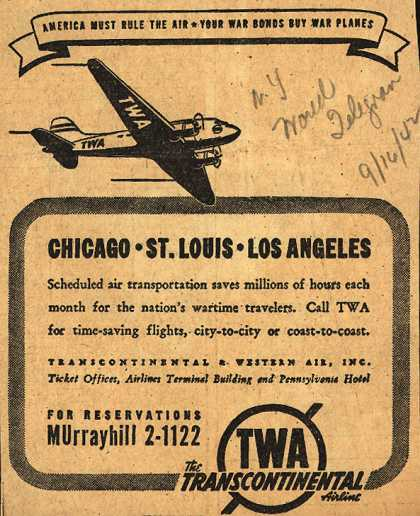 Transcontinental & Western Air's various destinations – Chicago, St. Louis, Los Angeles (1942)