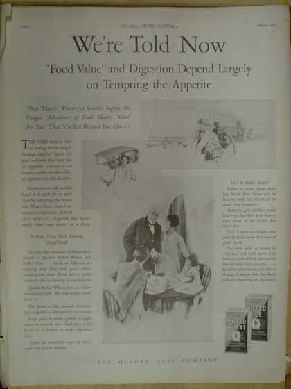 Quaker Oats Co. Puffed Wheat. Food value and digestion (1926)