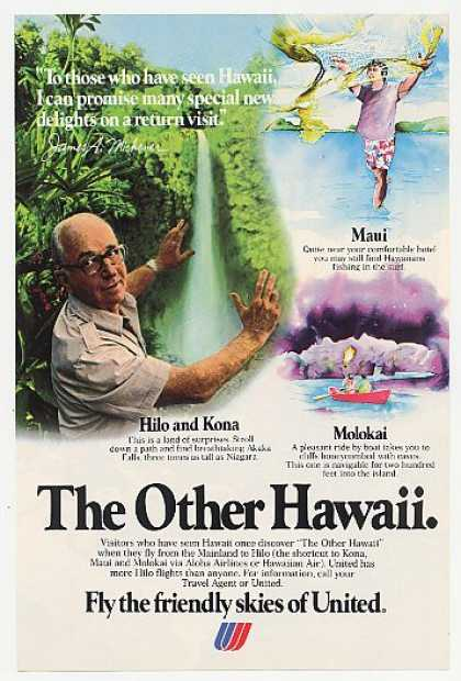 James A Michener United Airlines Hilo Hawaii (1980)