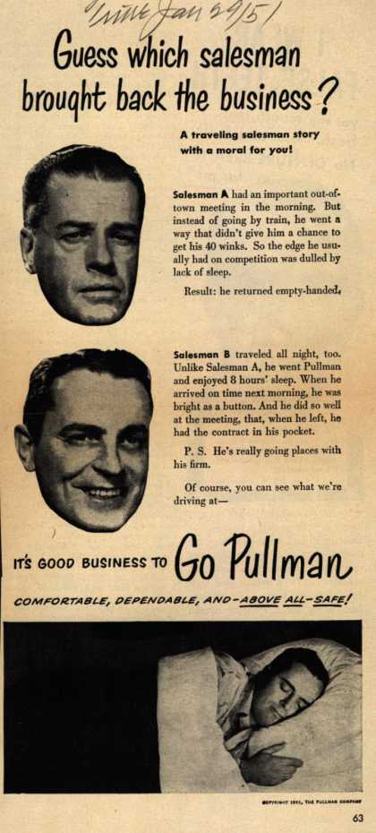 Pullman Company – Guess which salesman brought back the business? (1951)