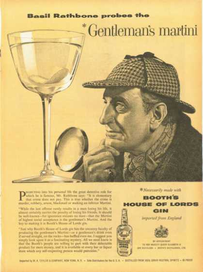 Booth's House of Lords Gin Basil Rathbone (1958)