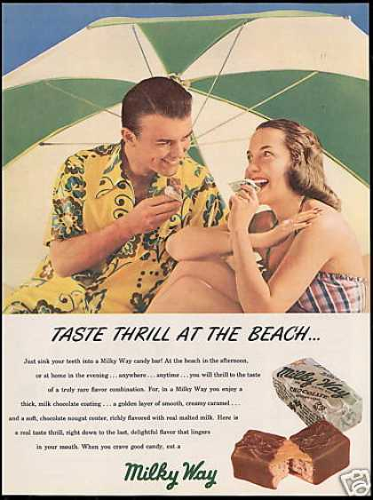 Milky Way Candy Bar Beach Photo Vintage (1948)
