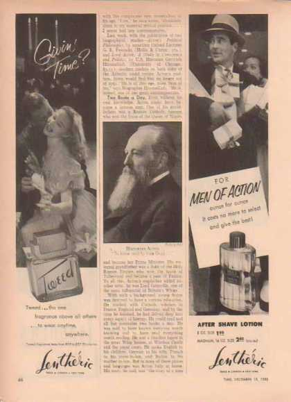 Lentheric Fragrance Ads – Tweed fragrance and Men's After Shave Lotion (1952)