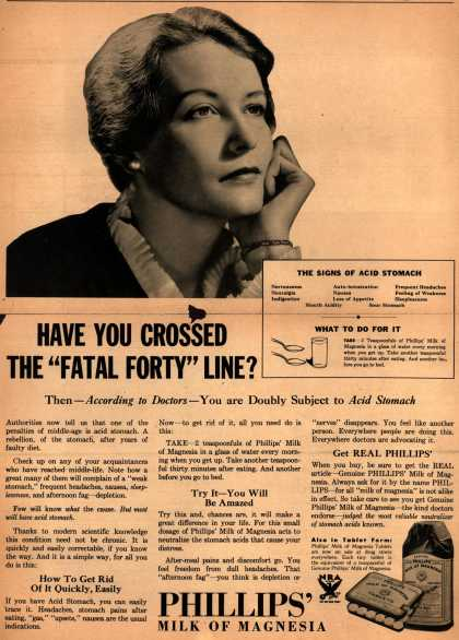"Chas. H. Phillips Chemical Co.'s Milk of Magnesia – Have You Crossed the ""Fatal Forty"" Line? (1934)"