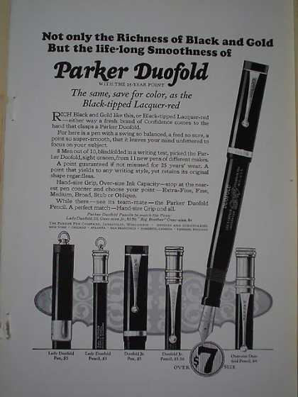 Parker Duofold Pens Black Tipped Lacquer red (1926)