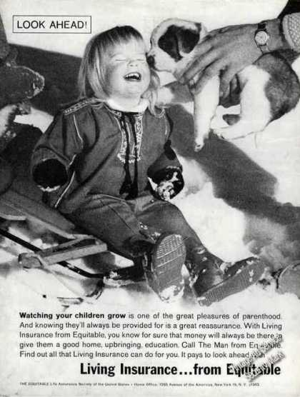 Equitable Living Insurance Young Girl Puppy (1962)