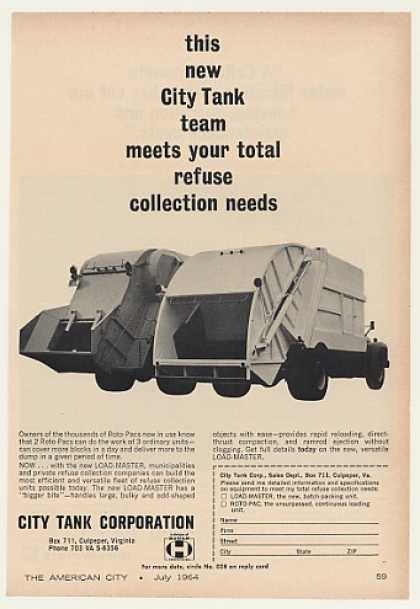 City Tank Load-Master Roto-Pac Garbage Trucks (1964)