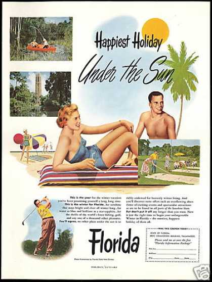 Florida Travel Pretty Blonde Swimsuit Golf (1951)