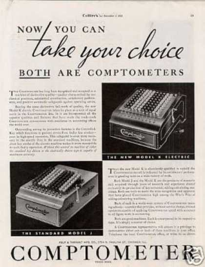 Comptometer Machines Ad Model K, J (1934)