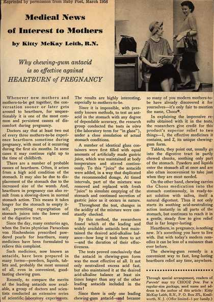 Pharmaco's Chooz – Medical News of Interest to Mothers (1958)