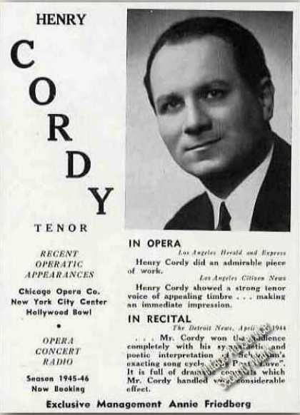Henry Cordy Tenor Opera/concert/r (1945)