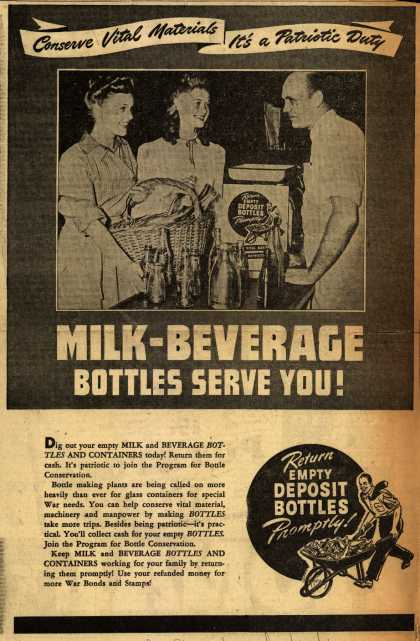 U. S. Government's Bottles – Milk-Beverage Bottles Serve You (1943)