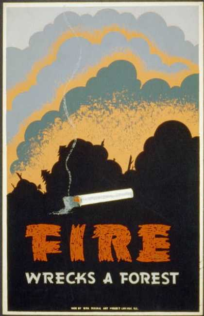 Fire wrecks a forest. (1936)