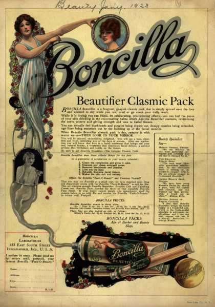 Boncilla Laboratorie's Boncilla Cosmetics – Boncilla Beautifier Clasmic Pack (1923)