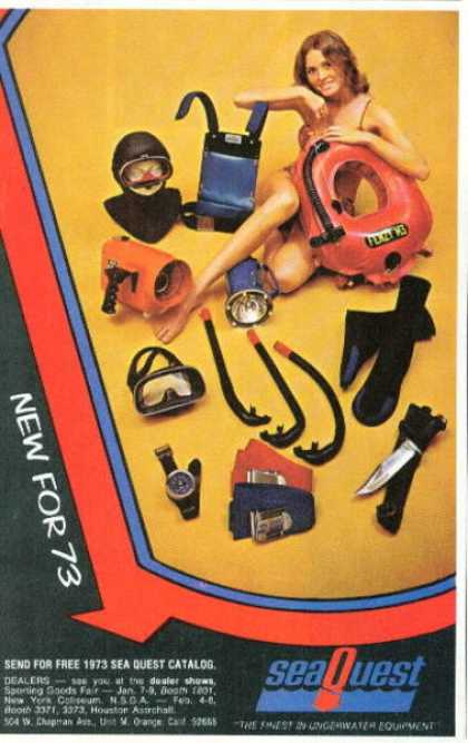 Sea Quest Scuba Diver Diving Knife Snorkel Mask (1973)